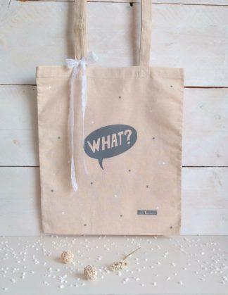 TOTE BAG WHAT (gris)